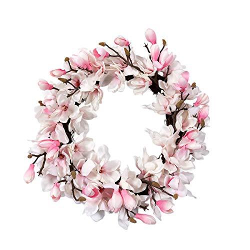 Pureday Dekokranz Magnolie - Blütenkranz - Rosa Weiß - ca. Ø 55 cm
