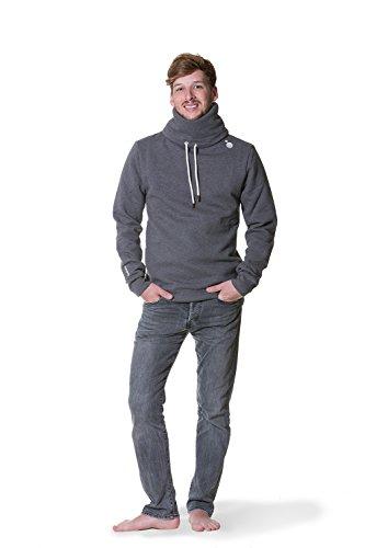 JUMPSTER Turtleneck Damen & Herren EXQUISITE mit Kragen, sehr kuscheliger Sweater, langer Hoodie (slim / regular) Slim Fit Grau M - 3