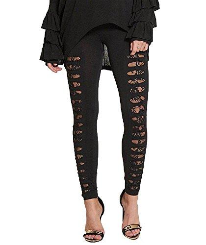 haute pour DIVA 'S NEUF pour femme découpé coupe laser déchiré lacets sous-couche détail Legging 36 - 42 Noir