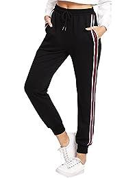 DIDK Damen Hosen Sporthose Casual Streifen Sweathose Elastischer Bund  Jogginghose mit Taschen 10f01ae9cb
