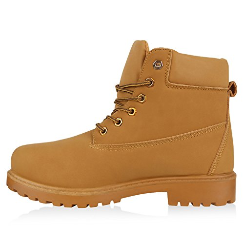 UNISEX Damen Herren Worker Boots Profil Sohle Stiefeletten Outdoor Schuhe Total Hellbraun
