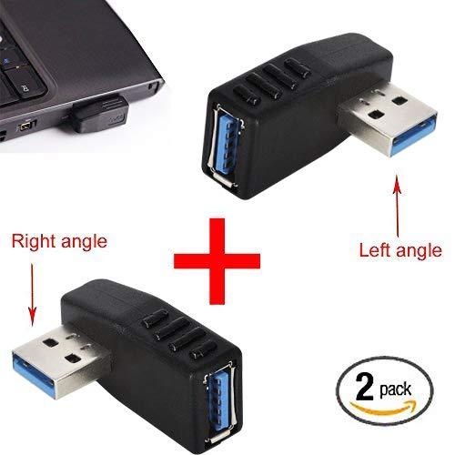 KIMILAR 2-tlg USB 3,0 Adapter rechtwinklig und linken Winkel-Stecker/Buchse USB Winkelstecker Connector-Extender Stecker Kupplung 2ST (einschließlich der linken und rechten Winkel-Adapter) - Grad Usb