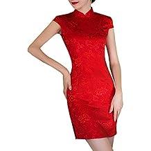 XunXian(TM) Mujer de Cheongsam Vestido Elegante de Qipao de Rojo