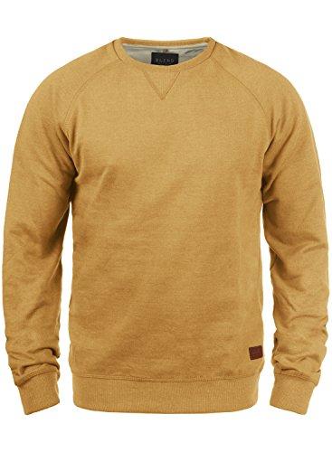 BLEND Alex Herren Sweatshirt Pullover Sweater mit Rundhalskragen aus hochwertiger Baumwollmischung, Größe:L, Farbe:Mustard Yellow (72513)