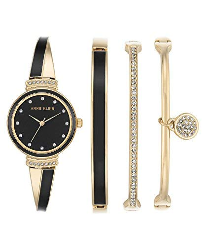 Anne Klein Women's Gold-Tone Bangle Bracelet Watch 26mm Gift Set AK/2716GBST