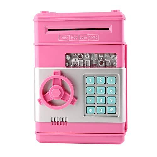 7colors Kids Elektronischer Geldtresor Password Saving Bank Geldautomat für Münzen und Banknoten Code Schlüsseletui System Money Saving Box - Pink (Geldautomat-bank)