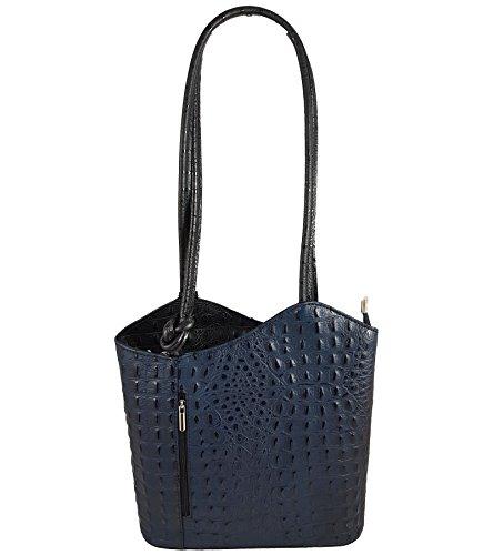 Freyday 2 in 1 Handtasche Rucksack Designer Luxus Henkeltasche aus Echtleder in versch. Designs (Kroko Dunkelblau-Schwarz)