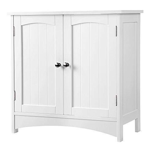 Bad Waschbeckenunterschrank (SONGMICS Waschbeckenunterschrank Unterschrank Badezimmerschrank viel Stauraum 2 Türen mit verstellbarer Einlegeboden weiß 60 x 60 x 30 cm ( B x H x T) BBC01WT)
