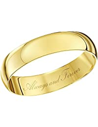 Theia Unisex 9ct Yellow Gold, Heavy D Shape, Engraved, Polished Wedding Ring