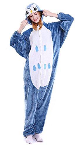 (ABYED® Kostüm Jumpsuit Onesie Tier Fasching Karneval Halloween kostüm Erwachsene Unisex Cosplay Schlafanzug- Größe L-für Höhe 164-174CM, Eule)