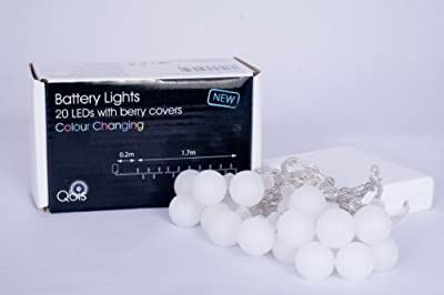 Qbis 20 LED Battery Lights with Berry Covers on Transparent Wire, Multi-Colour