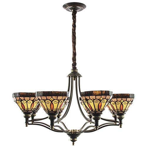 8 oder 1-Licht Tiffany-Stil Glasmalerei Deckenleuchte Mini Kronleuchter mit Multi-Color-Glas in Bronze-Finish,8heads - Bronze-finish-mini-kronleuchter