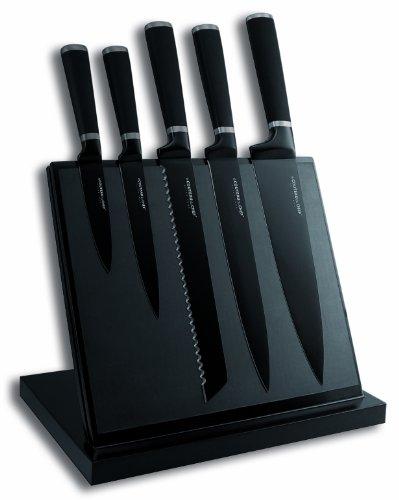 LE COUTEAU DU CHEF 443610 Bloc Aimanté 5 Couteaux de Cuisine Lame Noir Carbone Acier Inox + Revêtement Anti Adhérent