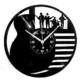 Instant Karma Clocks Horloge Murale en Vinyle Disque LP 33 Tours Instant Karma-Guitare Batterie Basse Musiciste Instruments musicaux Groupe Rock, Vintage, Silencieux