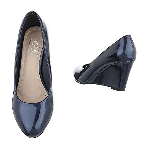 Ital-Design , chaussures compensées femme Dunkelblau EK-95