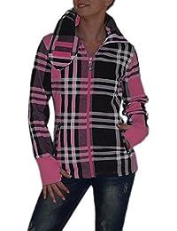 S&LU Super angesagte Damen Karo Kragen Jacke mit Daumenloch in verschiedenen Größen und Farbdesigns