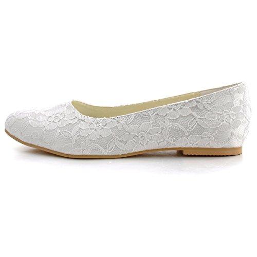 ElegantPark EP11106 Donna Pizzo Punta Chiusa Balletto Partito Scarpe Da Sposa Bianco