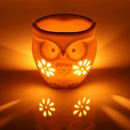 kerzenhalter Duftlampe aus Keramik Aromalampe Weiß (Eule) ()