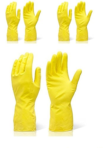 Safeyura House Hold Cleaning Rubber Hand Gloves, Kitchen,Washing Toilet Cleaning,Garden (3 pairs)