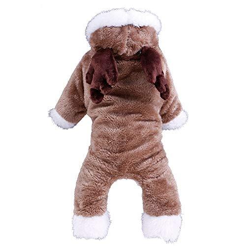 Kostüm Kaninchen Brown - WAXDEOLM elk/Kaninchen / Schafe Sich/Kleiner Hund Kleidung Winter warm Tier Vier Beine Kleidung Kapuzenpulli Dog Coat Jacke pet Weihnachts - kostüm Teddy,L,Brown