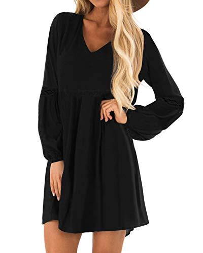 YOINS Damen Kleider Winterkleid für Damen Brautkleid Tshirt Kleid Rundhals Langarm Minikleid Kleider Langes Shirt Lose Tunika Baumwolle-schwarz EU46
