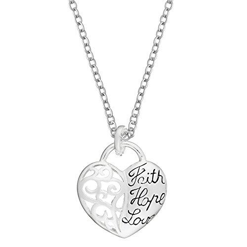 Silverly Frauen .925 Sterling Silber Glauben Hoffnungs Liebes Herz Filagree Hängende Halskette, 46cm