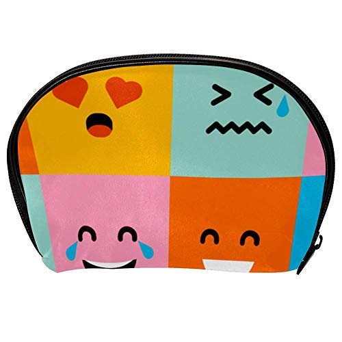 Universal Roomy Handbag Case Makeup Cosmetic Beauty Storage Bags,Facial Cleanser Skincare Kit Pouch Colorful Square Emoticons Print,Portable Electronics Accessories Organizer