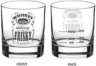 Ek Do Dhai Friskey Whisky Glass Set, 2-Pieces, 300ml, Black/White