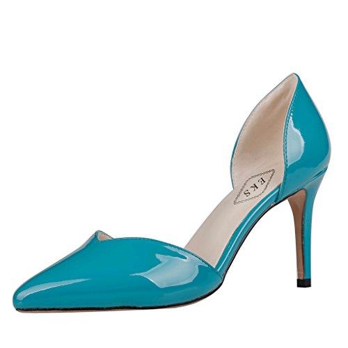 EKS - Scarpe con Tacco Donna Blu (Blau-Lackleder)
