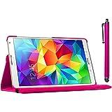 ebestStar - Cover Compatibile con Samsung Galaxy Tab S 8.4 SM-T700, SM-T705 Custodia Protezione Pelle PU con Supporto Rotazione 360 + Penna, Rosa [Apparecchio: 212.8 x 125.6 x 6.6mm, 8.4'']