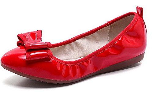 VogueZone009 Damen Lackleder Rund Zehe Ohne Absatz Ziehen auf Rein Flache Schuhe, Schwarz, 34