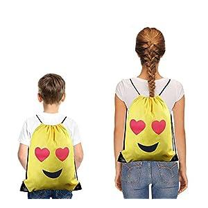 41kLw8hthhL. SS300  - FUNNY HOUSE Emoji Bolsas de Cuerdas,Emoji Cordón Mochila Bolsas Regalo Cumpleaños Deporte Gimnasio Backpack para Niños…
