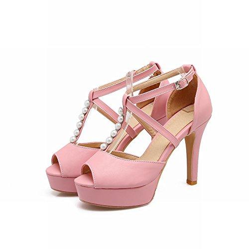 Mee Shoes Damen high heels Peep toe Plateau T-Strap Sandalen Pink