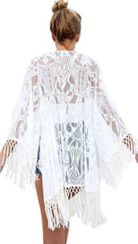 Jastore®lang weiß Lace Blumen Damen Strandponcho Sommer Überwurf Kaftan Strandkleid Bikini Cover Up (L, weiß 1)