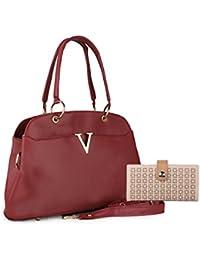 Ladies Brown Color Handbag&sling Bag With Clutch Combo