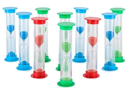 Sanduhr 2 Minuten 10er Set - im Vorteilspack - Buntes Sanduhren Set für Kinder und Erwachsene - Ideal für Haushalt, Sport und Spiele - Farben: Rot, Blau, Grün