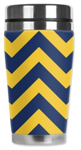Mugzie Yellow Chevron Travel Mug with Insulated Wetsuit Cover, Multicolor by Mugzie