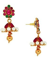 Spargz Antique Gold Plated Brass Metal Kemp Stones Jhumki Earring For Women AIER 294