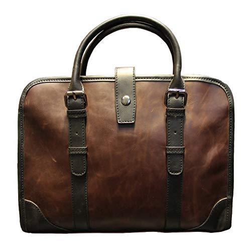 HTDZDX Vintage Ledertasche Männer Laptoptasche 13 Zoll/College-Tasche/Portfolio/Umhängetasche/Satchel/Business Tasche aus echtem Leder -