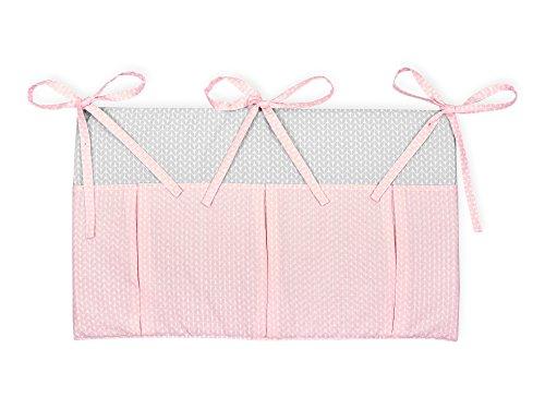 KraftKids Betttasche kleine Blätter rosa auf Weiß, Hänge-Ablage 50 x Höhe 30 cm, Bett-Organizer - Bett-blatt