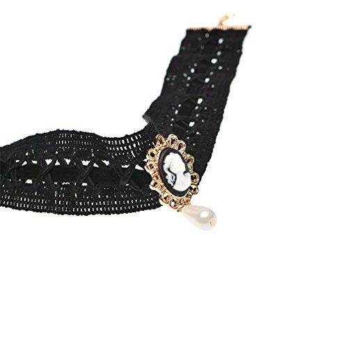 Y-BOA Classique Necklace Perle Noble Femme Fille Réglable Collier Chaîne Noir
