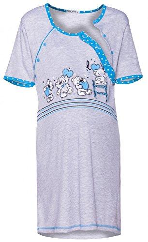 Happy Mama. Donna Prémaman carina camicia da notte gravidanza allattamento. 365p (Turchese, IT 48/50, 2XL)