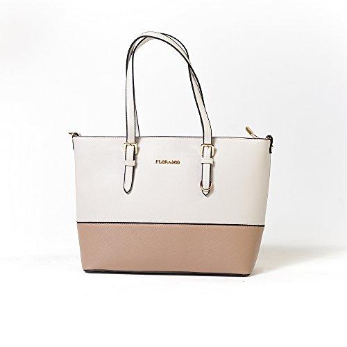 FLORA & CO | Damenhandtasche Emily | RON & ÈVE | Elegant Shopper-Tasche Schultertasche Handtasche Umhängetasche (Grau-Taupe) (Flora Damen Handtasche)