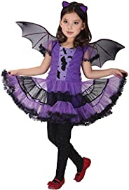 Dubocu Girls' Toddler Kids Baby Girl Halloween Clothes Costume Dress+Hair Hoop+Bat Wing Ou