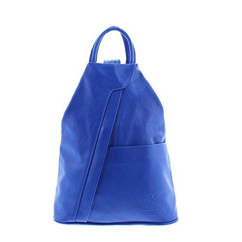 IO.IO.MIO leichter echt Leder Damenrucksack CityRucksack DayPack freie Farbwahl , 27-18x30x13 cm (B x H x T) (royalblau)