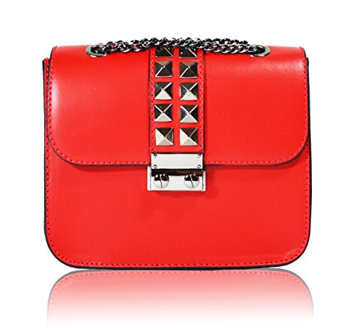 Millennium Star - Jewell borsa da donna in vera pelle Made in Italy rossa