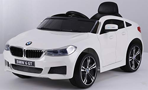 ATAA CARS BMW 6 GT Licenciado 12v - Blanco - Coche eléctrico para niños batería 12v con Mando Control Remoto Padres