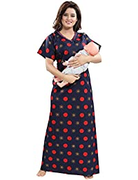 TUCUTE Women's Cotton Circle Print with Invisible Zip Pattern Feeding/Maternity/Nursing Nighty