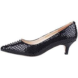 Verocara Pump179, Damen Sneaker Low-Tops , - A-Black snake - Größe: 40