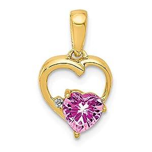 Anhänger 14 Karat Gold Saphir Rosa Diamant